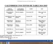calendrier des compétitions 2014/2015